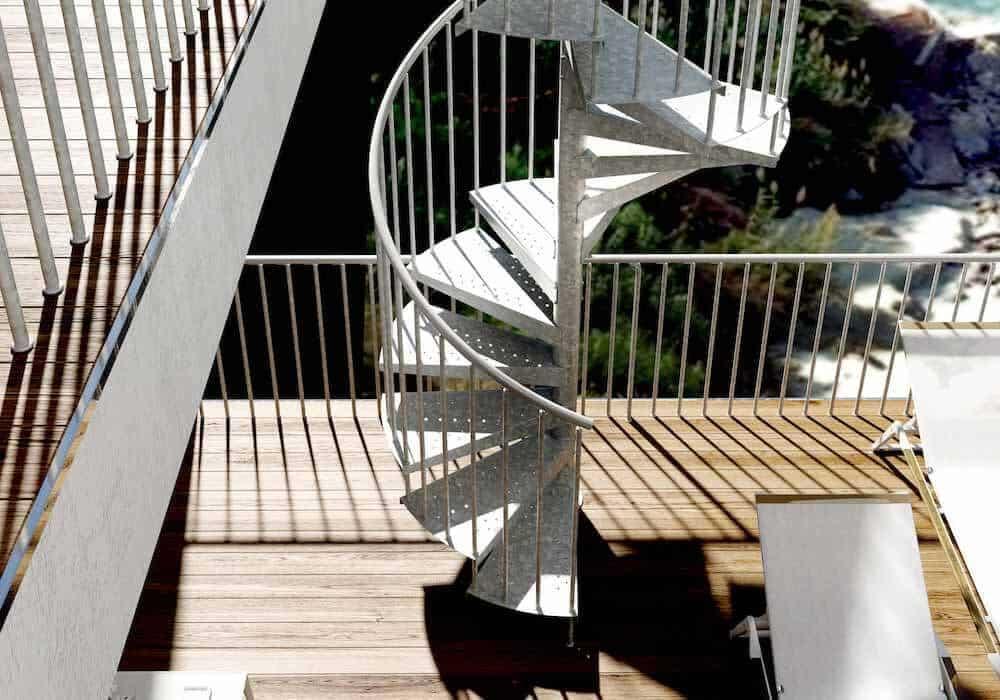 Escalera de caracol akua z resistente a la intemperie for Escaleras de metal para exteriores