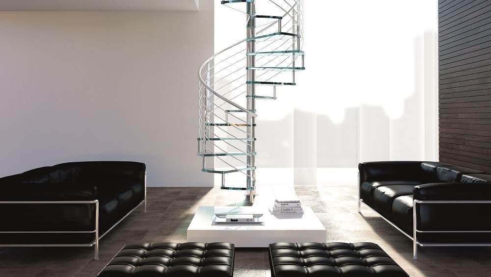 Escaleras de de caracol de cristal de interiores