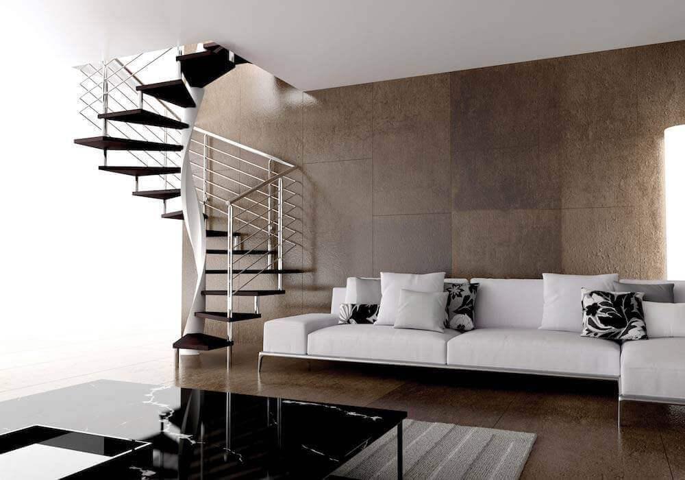 escalera de caracol modelo e con peldaos de madera
