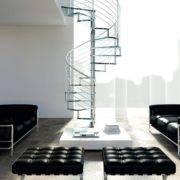 Escalera de caracol modelo Inox con peldaños de cristal y barandilla modelo R5(1) de Enesca.es