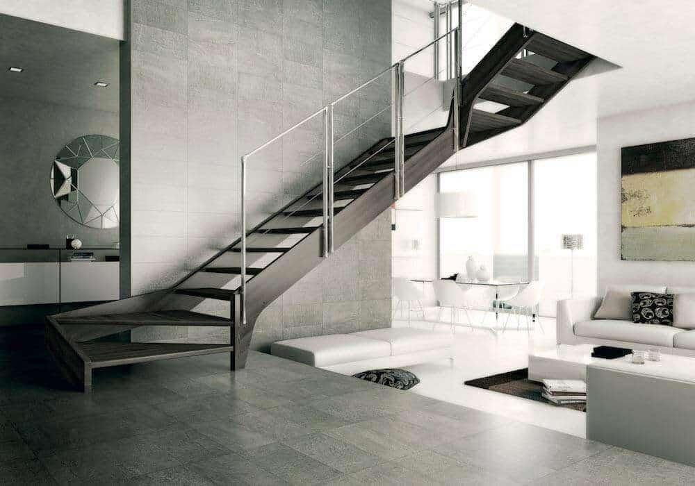 Escalera de tramos modelo Aris con peldaños de madera y barandilla modelo R72c de Enesca.es