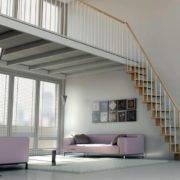 Escalera de tramos modelo Basik con peldaños de madera y barandilla modelo R2 de Enesca.es