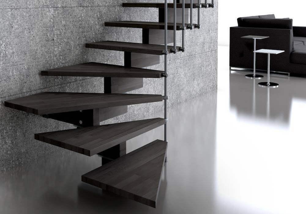Escalera de tramos modelo Doxa Wood con peldaños de madera y barandilla modelo R2 de Enesca.es