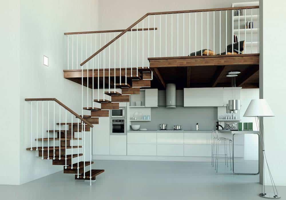escalera de tramos modelo doxa wood con peldaos de madera y barandilla modelo r