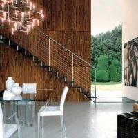 Escalera de tramos Glam Cristal con peldaños de cristal