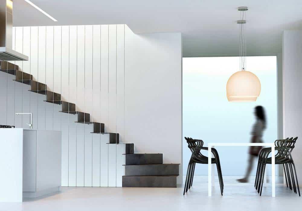 Escalera de tramos Glam Laser con peldaños de metal continuo
