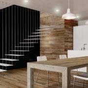 Escalera de tramos modelo Glam Laser con peldaños de metal y barandilla modelo R10(2) de Enesca.es