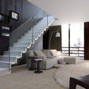 Escalera de tramos modelo Glam con peldaños de madera y barandilla modelo RV1 de Enesca.es