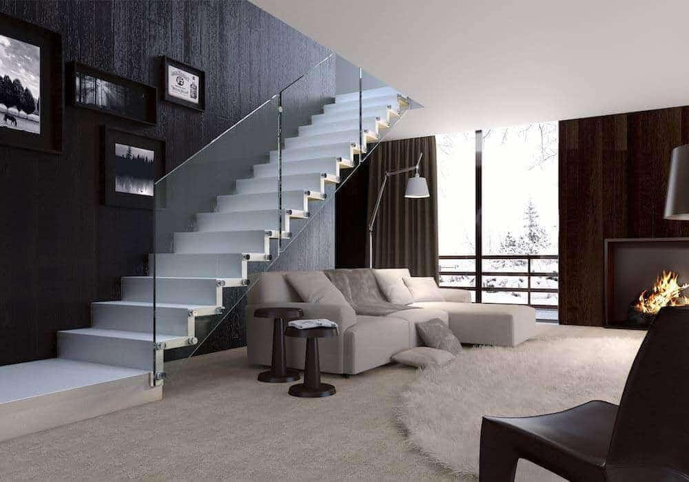 escalera de tramos modelo glam con peldaos de madera