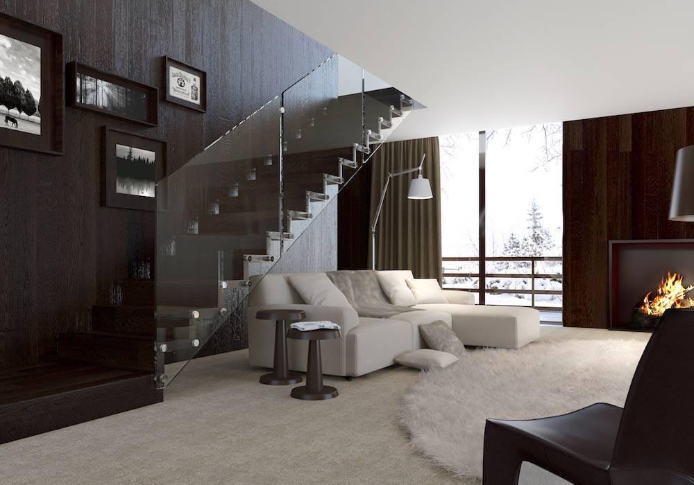 Escalera de tramos modelo Glam con peldaños de madera y barandilla modelo RV1(3) de Enesca.es