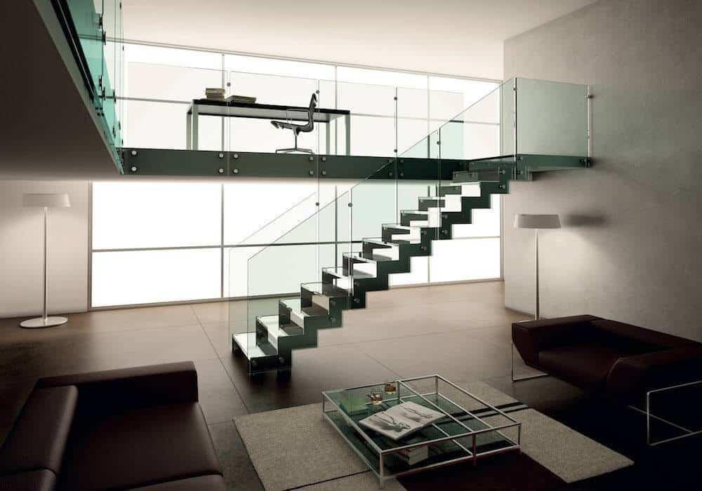 Escalera de tramos itron cristal dise o y glamour for Escaleras de salon
