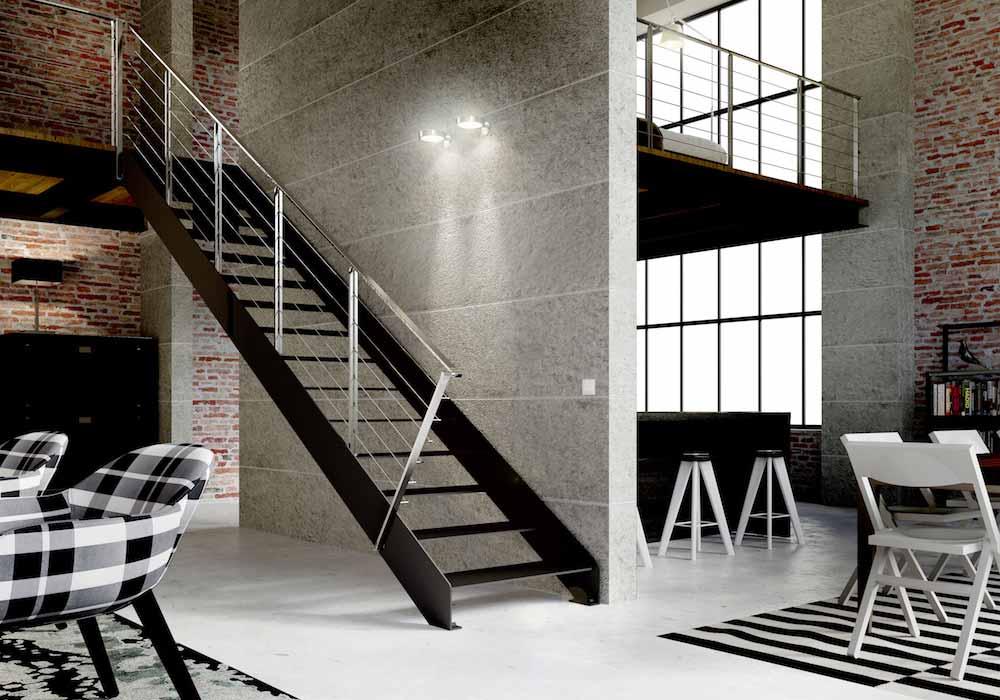 escalera de tramos itron laser con peldaos de metal