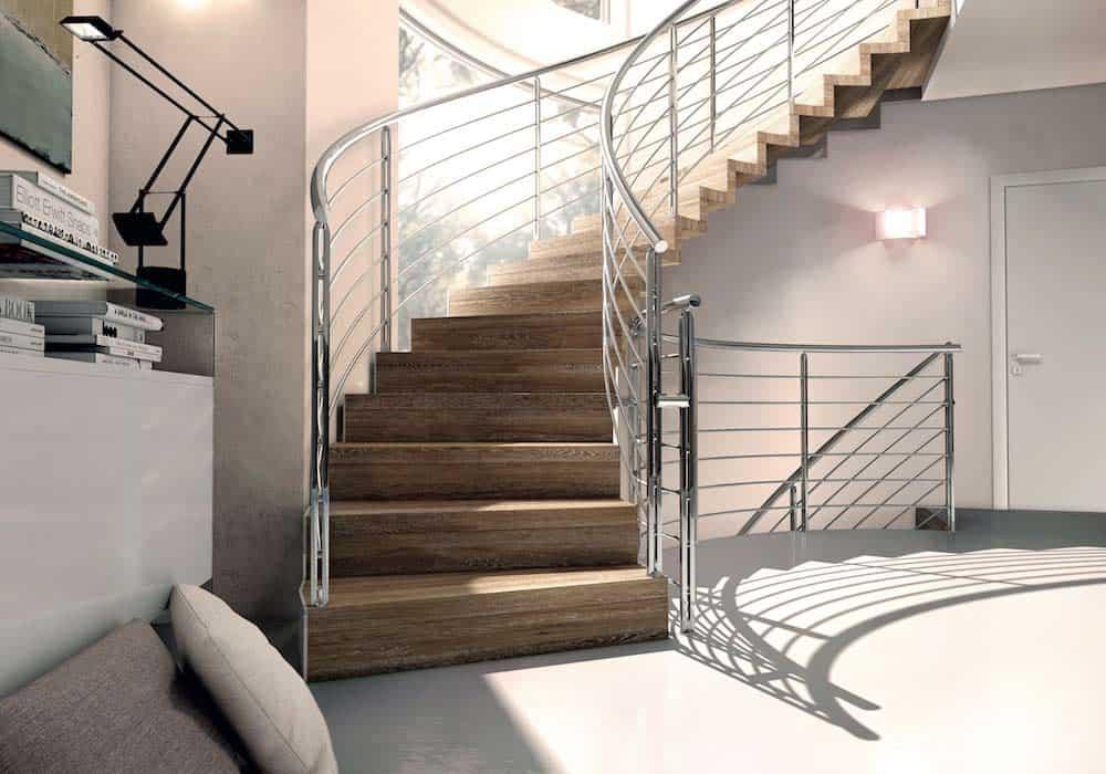 Escalera de tramos modelo Itron con estructura simple, peldaños de madera y barandilla modelo R5(4) de Enesca.es