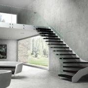 Escalera de tramos modelo Itron con estructura simple, peldaños de madera y barandilla modelo RV1 de Enesca.es