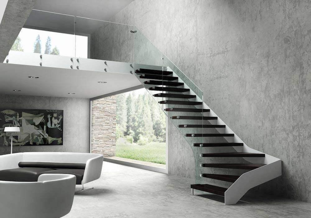 escalera de tramos itron fusin entre el acero y la madera enescaes - Escaleras Interiores