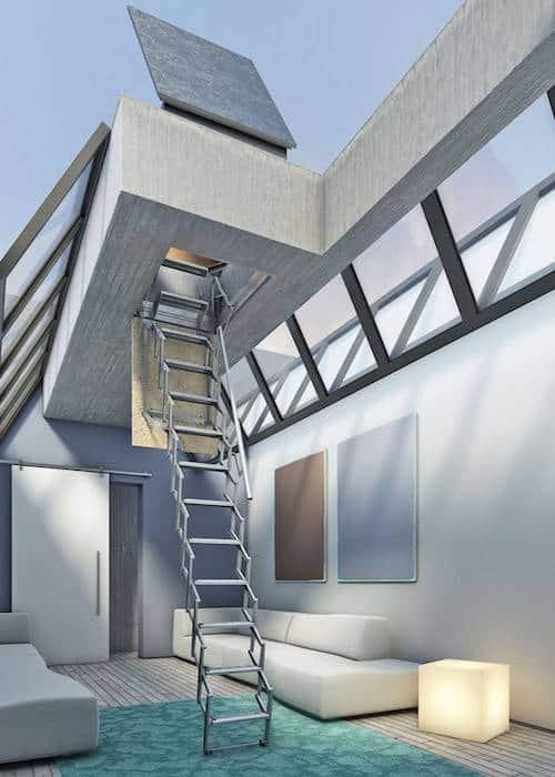 Escalera plegable para salida a terraza flexa terraza - Escaleras metalicas plegables ...