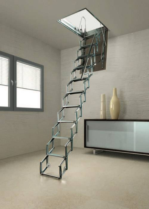 Flexa s escalera plegable para techo tipo tijera for Diferentes tipos de escaleras