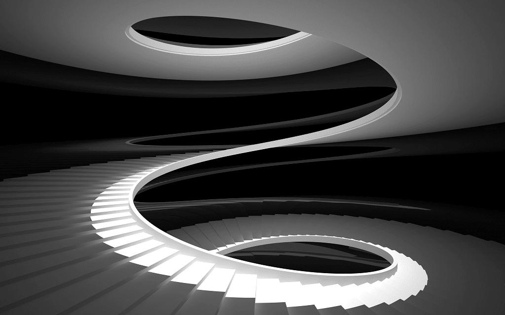 Escaleras redondas de diseño blanca sin baranda de Enesca.es