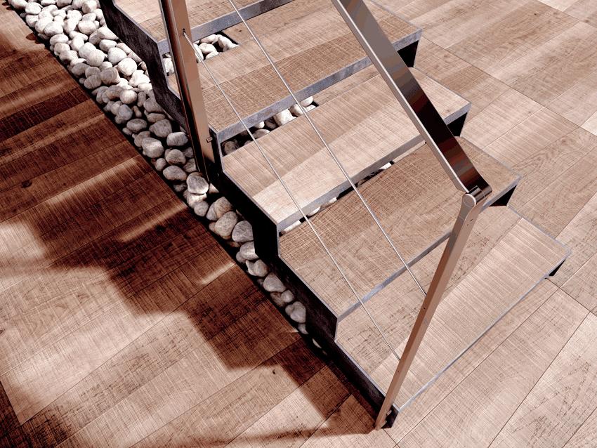 Escalera con acabado recta de madera Itron de Enesca.es
