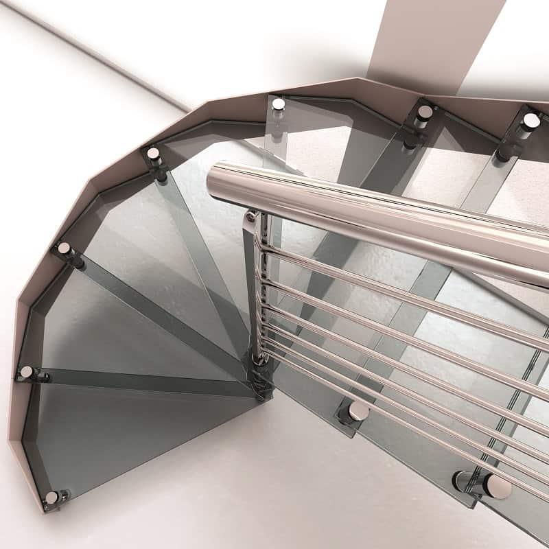 Escalera L20 voladizo redondo vidrio R5 detalle de alta resolución de Enesca.es