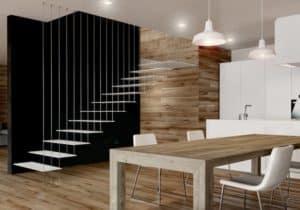 Escalera de tramos modelo Glam Laser con peldaños de metal y barandilla modelo R102 de Enesca.es