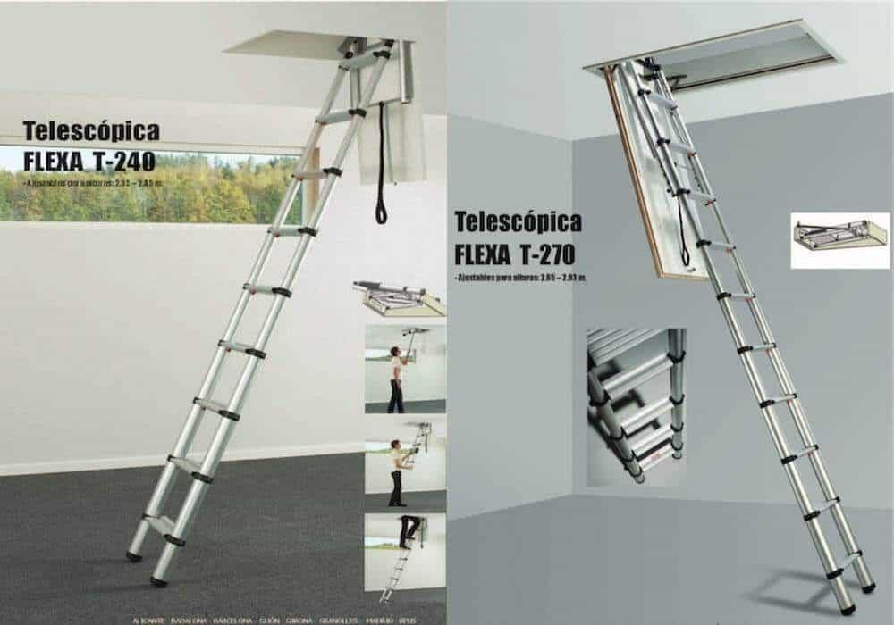 Escalera plegable tipo telescópica