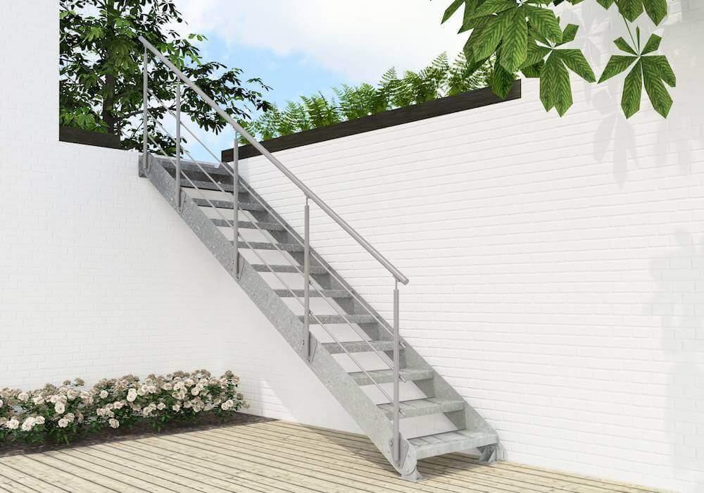 Escalera de tramo Regolo Z zincada para jardin de Enesca.es